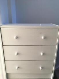 2 X Ikea solid wood cupboards - 3 drawers