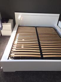 Italian designer high gloss white king size bed