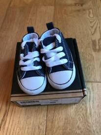 Navy Converse in box size 2 - 3-6 months