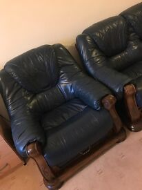 Royal blue leather sofa.
