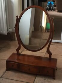 Yew Wood Dressing Table mirror with 3 Draws