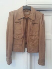 Oasis tan leather jacket.