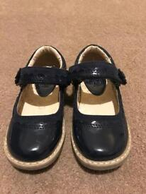 Navy Blue Patent Girls Shoes - Good Condition - Size 8