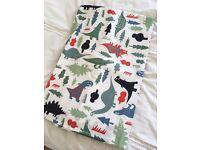 John Lewis Little Home blackout dinosaur curtains, single duvet and pillow case