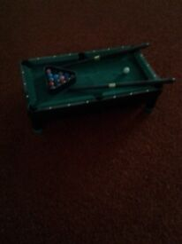 Novelty Table Top Minature Pool Table with accessories for sale.