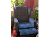 Blue Fabric Reclining Armchair
