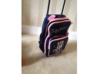 Childs strong travel bag with wheels and retracting handle, Funky Freinds