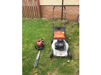 Petrol lawnmower & Hedge Trimmer