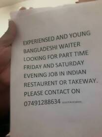 Bangladeshi experienced young waiter