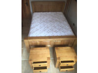 Absolutely stunning as new, solid Golden Oak Kingsize Bed, drawer set and mattress