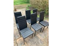 6 Black Faux Leather chairs