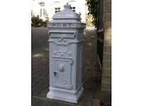 Victorian Style Floor Standing Cast Aluminum Post Letter Box White