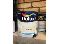 7 tins of Dulux chic shadow matt paint.