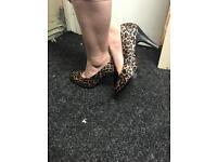 Trashed size 8 leopard print heel