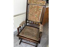 Rocking Chair - Late Victorian Beech Framed