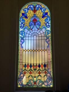 Antique Victorian leadlight window (large)