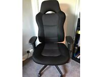 Black High Backed Fabric Office Chair