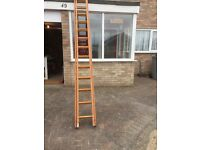 Double extendable wooden ladder