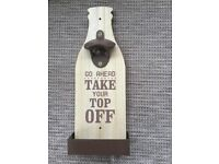 Wooden and tin bottle opener