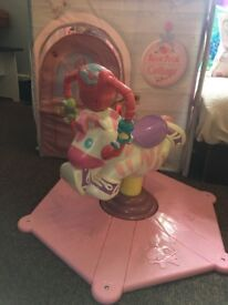 Fisher Price Bounce and Spin Zebra pink with music nw6