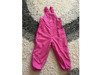 Jojo Maman Bebe fleece lined waterproof dungarees 4-5Y