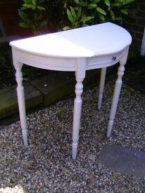 Shabby chic half moon table