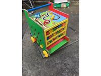 Children's Wooden toy walker with activities each side