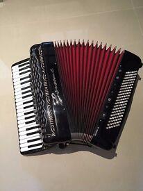 Borsini piano accordion, double cassotto, 120 bass, right hand mics and left hand midi-bass