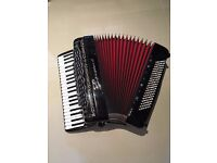 Borsini piano accordion, double cassotto, 120 bass, right hand mics and left hand midi-bass