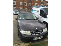 saab 95 estate auto 2003 black with cream leather interior very nice looking car lots of history
