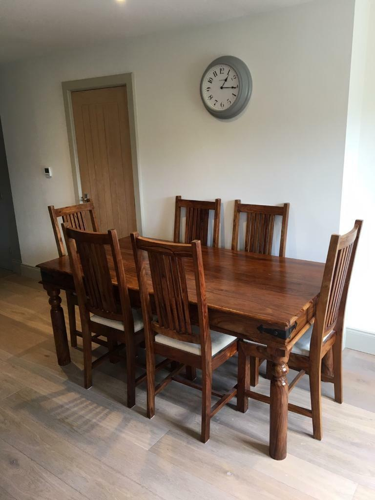 john lewis maharani dining table and six chairs  in old