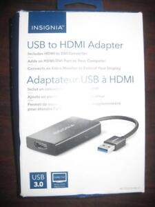 Insignia USB to HDMI / DVI Adapter. Connect Laptop / Macbook / Surface to Projector / Monitor. Extend the Display