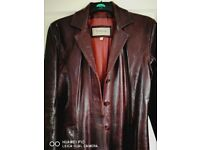 Genuine leather coat, knee length