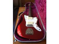 Japanese 90's Fender Jazzmaster in Red with matching headstock & hiscox case