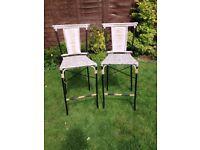 Wicker vintage bar stools, x2 shabby chic, retro, breakfast bar stools
