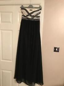 Long black/cream sequinned dress