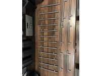 Brushed metal kitchen door handles