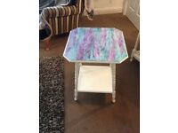 Side table painted white with painted colourful top
