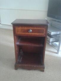 Telephone Table - Mahogony Colour Wood Veneer. One drawer, one shelf.