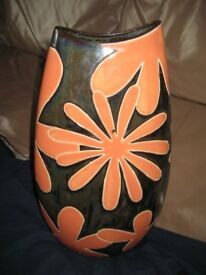 Large Orange and Black Patterned Ceramic Vase