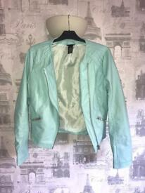 Blue faux leather jacket size 12
