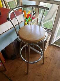 Kitchen bar stool chrome and light wood