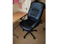 leather office chair and and small desk