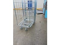 3 sided roll container nestable zinc roll cage used in good condition ideal for warehouse
