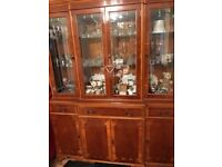 Dinning table and 6 chairs and display cabinet yew wood