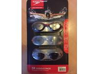 Speedo swimming goggles brand new pack of 3