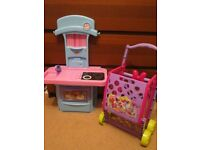 small toy kitchen with sounds + shopping basket