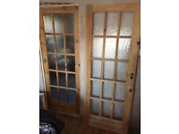 2X Wood/Glass Doors 1981 x 762 used comes with Handles