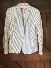 Fabulous lined new blue & white striped jacket. Size 14
