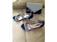 Immaculate new condition size 5 shoes/matching clutch bag